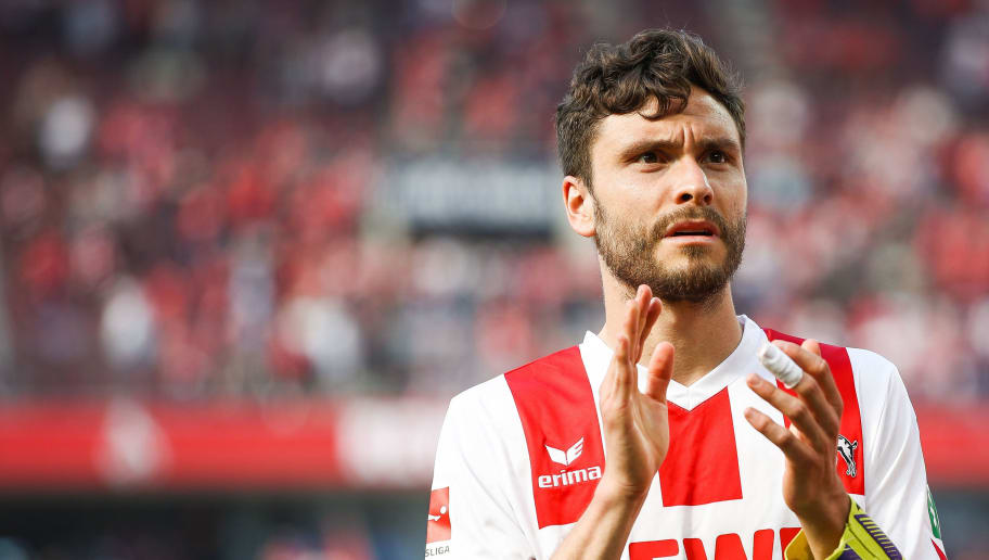 COLOGNE, GERMANY - MAY 05: Jonas Hector #14 of 1.FC Koeln reacts after the Bundesliga match between 1. FC Koeln and FC Bayern Muenchen at RheinEnergieStadion on May 5, 2018 in Cologne, Germany. (Photo by Maja Hitij/Bongarts/Getty Images)