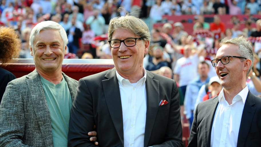 COLOGNE, GERMANY - MAY 05: Armin Veh of Koeln, Harald Toni Schumacher of Koeln and Alexander Wehrle of Koeln laughs prior to the Bundesliga match between 1. FC Koeln and FC Bayern Muenchen at RheinEnergieStadion on May 5, 2018 in Cologne, Germany. (Photo by TF-Images/Getty Images)