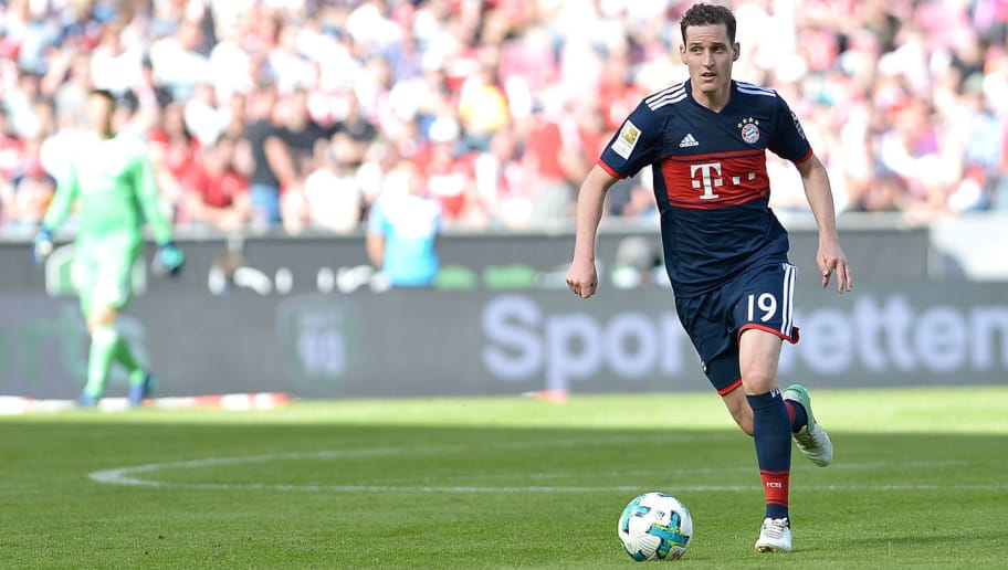 COLOGNE, GERMANY - MAY 05: Sebastian Rudy of Muenchen controls the ball during the Bundesliga match between 1. FC Koeln and FC Bayern Muenchen at RheinEnergieStadion on May 5, 2018 in Cologne, Germany. (Photo by TF-Images/Getty Images)