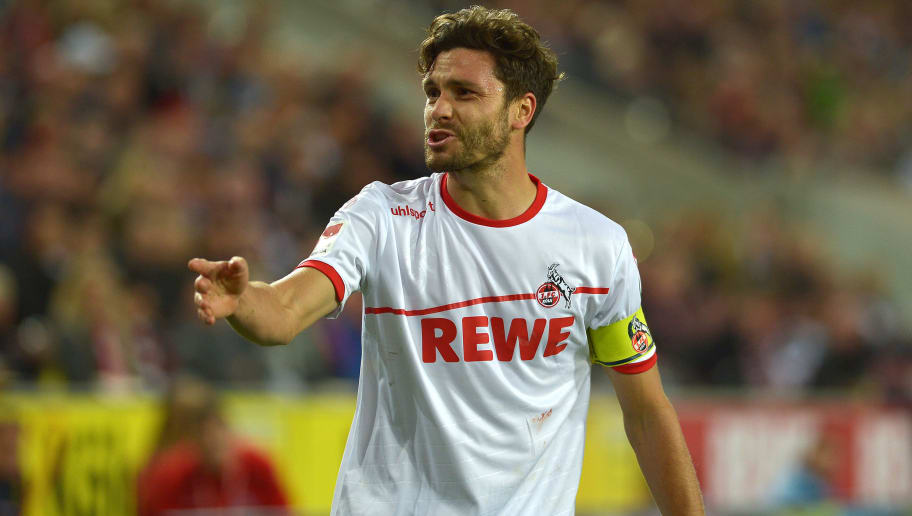 COLOGNE, GERMANY - SEPTEMBER 25: Jonas Hector of FC Koeln gestures during the Second Bundesliga match between 1. FC Koeln and FC Ingolstadt 04 at RheinEnergieStadion on September 25, 2018 in Cologne, Germany. (Photo by TF-Images/Getty Images)