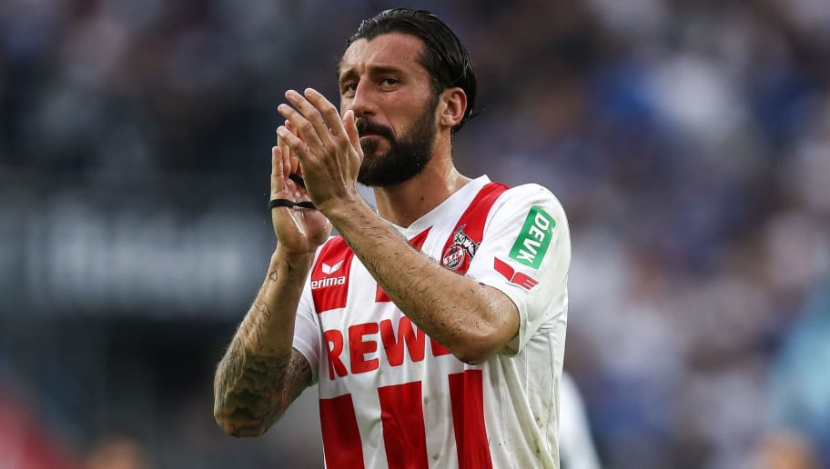COLOGNE, GERMANY - APRIL 22: Dominic Maroh #5 of 1.FC Koeln reacts after the Bundesliga match between 1. FC Koeln and FC Schalke 04 at RheinEnergieStadion on April 22, 2018 in Cologne, Germany. (Photo by Maja Hitij/Bongarts/Getty Images)