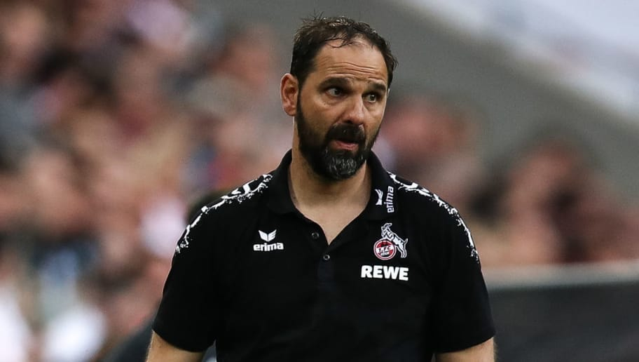 COLOGNE, GERMANY - APRIL 22: Stefan Ruthenbeck Head Coach of 1. FC Koeln reacts during the Bundesliga match between 1. FC Koeln and FC Schalke 04 at RheinEnergieStadion on April 22, 2018 in Cologne, Germany. (Photo by Maja Hitij/Bongarts/Getty Images)