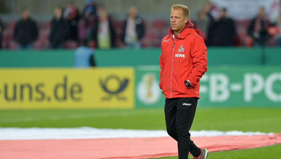 COLOGNE, GERMANY - OCTOBER 31: Head coach Markus Anfang of FC Koeln looks on during the DFB Cup match between 1. FC Koeln and FC Schalke 04 at RheinEnergieStadion on October 31, 2018 in Cologne, Germany. (Photo by TF-Images/Getty Images)
