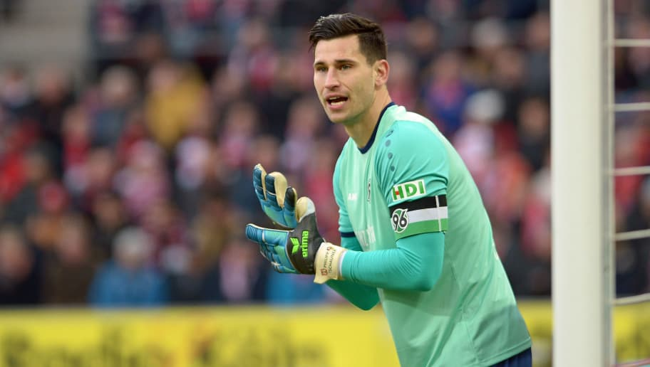 COLOGNE, GERMANY - FEBRUARY 17: Goalkeeper Philipp Tschauner of Hannover looks on during the Bundesliga match between 1. FC Koeln and Hannover 96 at RheinEnergieStadion on February 17, 2018 in Cologne, Germany. (Photo by TF-Images/TF-Images via Getty Images)
