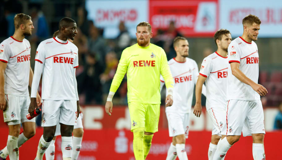 COLOGNE, GERMANY - OCTOBER 08:  Simon Terodde of Koeln and his team mates are looking dejected during the Second Bundesliga match between 1. FC Koeln and MSV Duisburg at RheinEnergieStadion on October 8, 2018 in Cologne, Germany.  (Photo by Lars Baron/Bongarts/Getty Images)
