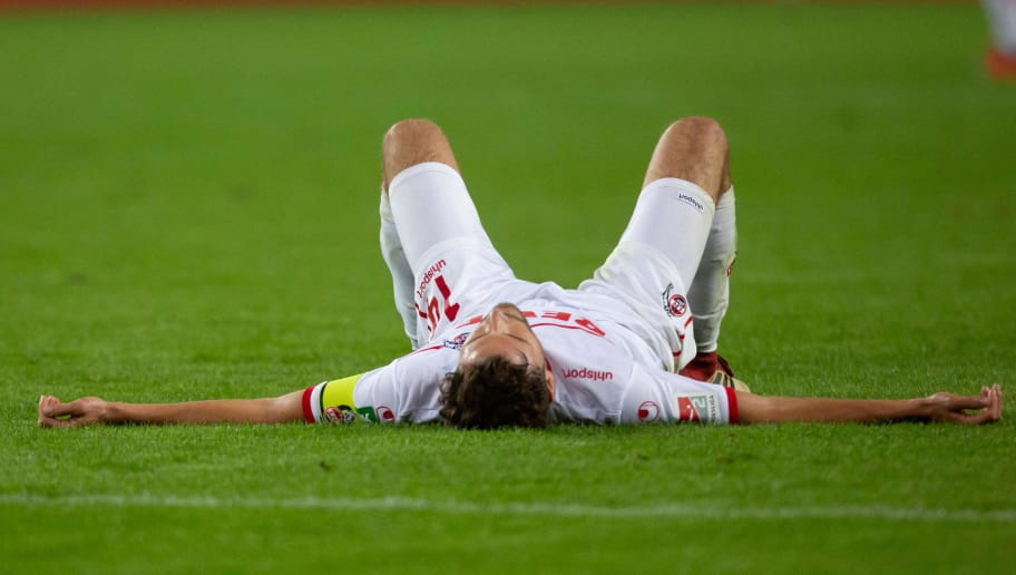 COLOGNE, GERMANY - OCTOBER 08: Jonas Hector of FC Koeln looks dejected during the Second Bundesliga match between 1. FC Koeln and MSV Duisburg at RheinEnergieStadion on October 8, 2018 in Cologne, Germany. (Photo by TF-Images/Getty Images)