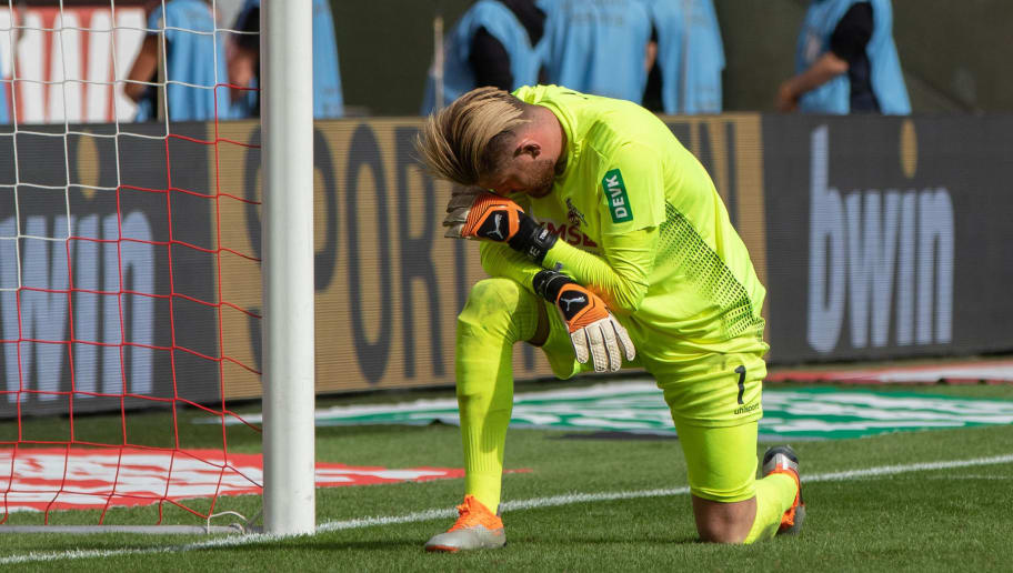 COLOGNE, GERMANY - SEPTEMBER 16: Goalkeeper Timo Horn of Koeln looks dejected during the Second Bundesliga match between 1. FC Koeln and SC Paderborn 07 on September 16, 2018 in Cologne, Germany. (Photo by TF-Images/Getty Images)