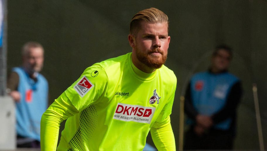 COLOGNE, GERMANY - SEPTEMBER 16: Timo Horn of Koeln looks on during the Second Bundesliga match between 1. FC Koeln and SC Paderborn 07 on September 16, 2018 in Cologne, Germany. (Photo by TF-Images/Getty Images)