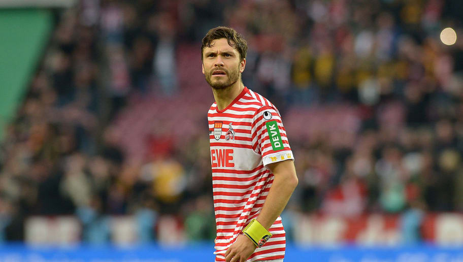 COLOGNE, GERMANY - NOVEMBER 10: Jonas Hector of 1. FC Koeln looks on during the Second Bundesliga match between 1. FC Koeln and SG Dynamo Dresden at RheinEnergieStadion on November 10, 2018 in Cologne, Germany. (Photo by TF-Images/Getty Images)