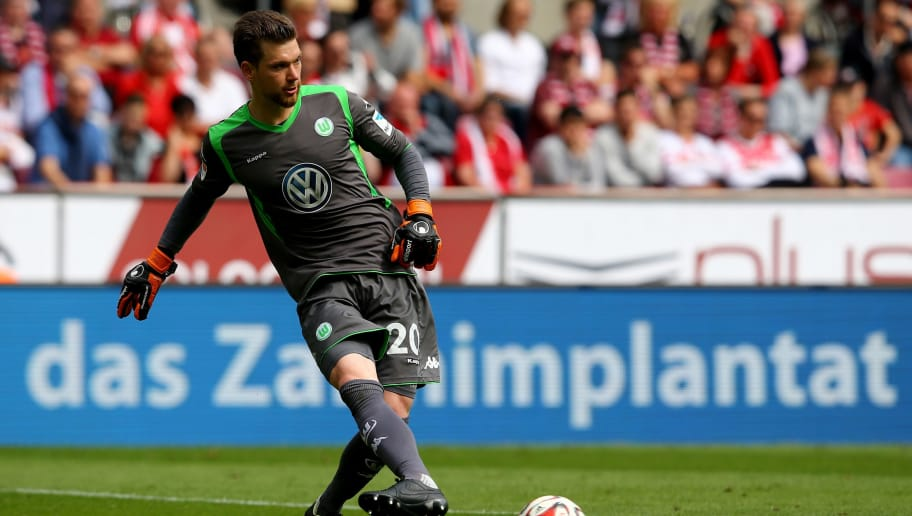 COLOGNE, GERMANY - MAY 23: Max Gruen of Wolfsburg kicks the ball during the Bundesliga match between 1. FC Koelan and VfL Wolfsburg at RheinEnergieStadion on May 23, 2015 in Cologne, Germany.  (Photo by Christof Koepsel/Bongarts/Getty Images)