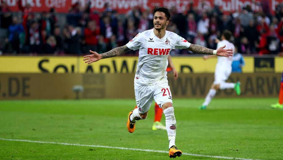COLOGNE, GERMANY - MAY 05:  Loureiro Bittencourt of Koeln celebrates after scoring his teams second goal during the Bundesliga match between 1. FC Koeln and Werder Bremen at RheinEnergieStadion on May 5, 2017 in Cologne, Germany.  (Photo by Lars Baron/Bongarts/Getty Images)
