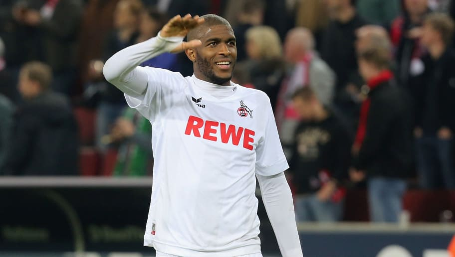 COLONGE, GERMANY - MAY 05: Anthony Modeste of Koeln looks on during to the Bundesliga match between 1. FC Koeln and Werder Bremen at RheinEnergieStadion on May 5, 2017 in Cologne, Germany. (Photo by TF-Images/Getty Images)