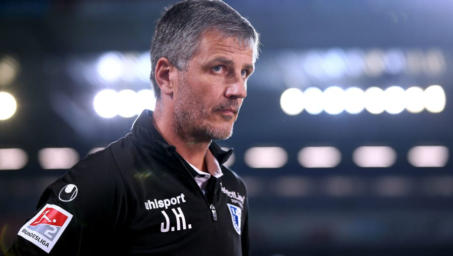 MAGDEBURG, GERMANY - SEPTEMBER 17: Head coach Jens Haertel of Magdeburg enters the pitch prior to the Second Bundesliga match between 1. FC Magdeburg and DSC Arminia Bielefeld at MDCC Arena on September 17, 2018 in Magdeburg, Germany. (Photo by Ronny Hartmann/Bongarts/Getty Images)