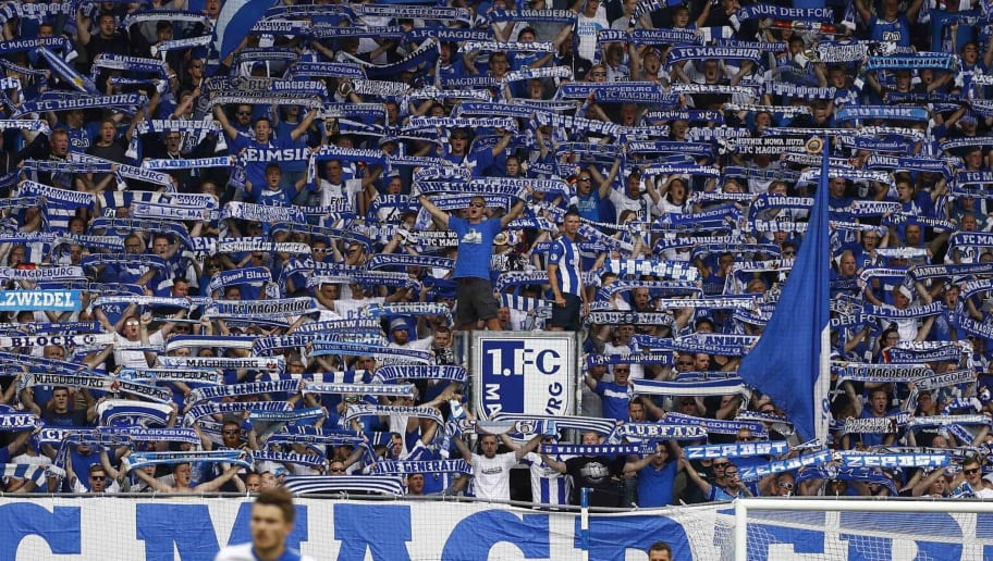 MAGDEBURG, GERMANY - JULY 29: The Fans of Magdeburg during the 3. Liga match between 1. FC Magdeburg and FC Rot-Weiss Erfurt at MDCC-Arena on July 29, 2017 in Magdeburg, Germany. (Photo by Joachim Sielski/Bongarts/Getty Images)