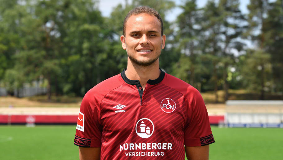 NUREMBERG, GERMANY - JULY 16: Ewerton of 1. FC Nuernberg poses during the team presentation at Sportpark Valznerweiher on July 16, 2018 in Nuremberg, Germany. (Photo by Sebastian Widmann/Bongarts/Getty Images)