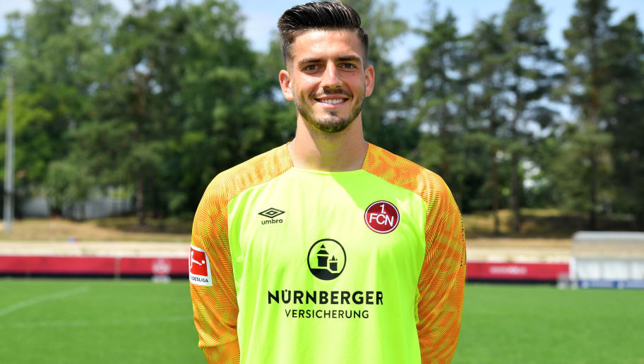 NUREMBERG, GERMANY - JULY 16: Fabian Bredlow of 1. FC Nuernberg poses during the team presentation at Sportpark Valznerweiher on July 16, 2018 in Nuremberg, Germany. (Photo by Sebastian Widmann/Bongarts/Getty Images)