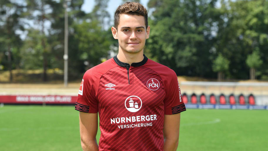 NUREMBERG, GERMANY - JULY 16: Alexander Fuchs of 1. FC Nuernberg poses during the team presentation at Sportpark Valznerweiher on July 16, 2018 in Nuremberg, Germany. (Photo by Sebastian Widmann/Bongarts/Getty Images)