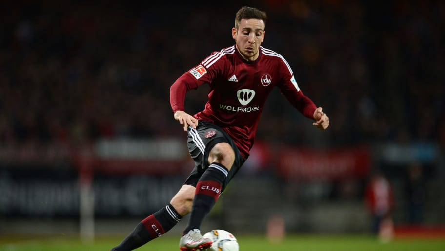NUREMBERG, GERMANY - MARCH 04: Kevin Moehwald of Nuernberg runs with the ball during the Second Bundesliga match between 1. FC Nuernberg and 1. FC Kaiserslautern at Grundig-Stadion on March 4, 2016 in Nuremberg, Germany.  (Photo by Micha Will/Bongarts/Getty Images)