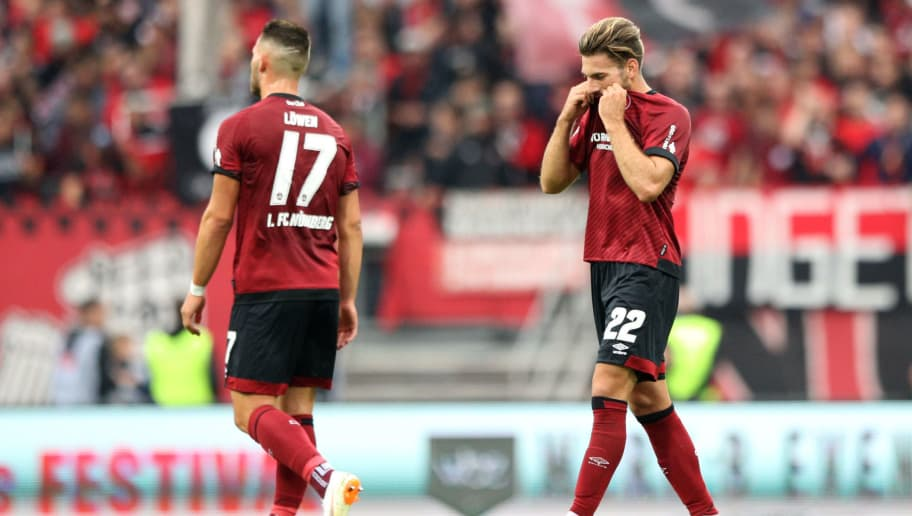 NUREMBERG, GERMANY - SEPTEMBER 01:  Enrico Valentini of Nuernburg reacts following the Bundesliga match between 1. FC Nuernberg and 1. FSV Mainz 05 at Max-Morlock-Stadion on September 1, 2018 in Nuremberg, Germany.  (Photo by Adam Pretty/Bongarts/Getty Images)