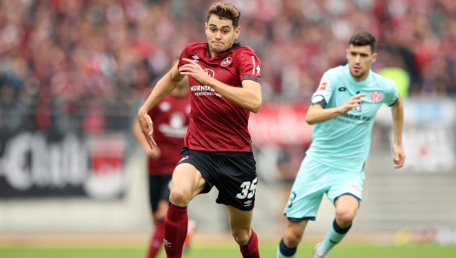 NUREMBERG, GERMANY - SEPTEMBER 01:  Alexander Fuchs of Nuernburg runs with the ball during the Bundesliga match between 1. FC Nuernberg and 1. FSV Mainz 05 at Max-Morlock-Stadion on September 1, 2018 in Nuremberg, Germany.  (Photo by Adam Pretty/Bongarts/Getty Images)