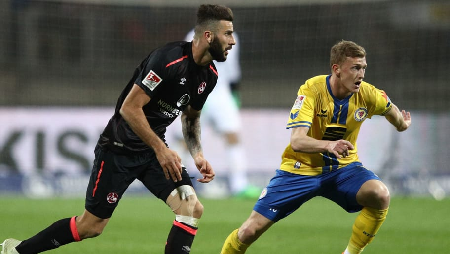 NURENBERG, GERMANY - APRIL 30:  Mikael Ishak of Nuernberg in action during the Second Bundesliga match between 1. FC Nuernberg and Eintracht Braunschweig at Max-Morlock-Stadion on April 30, 2018 in Nurenberg, Germany.  (Photo by Adam Pretty/Bongarts/Getty Images)