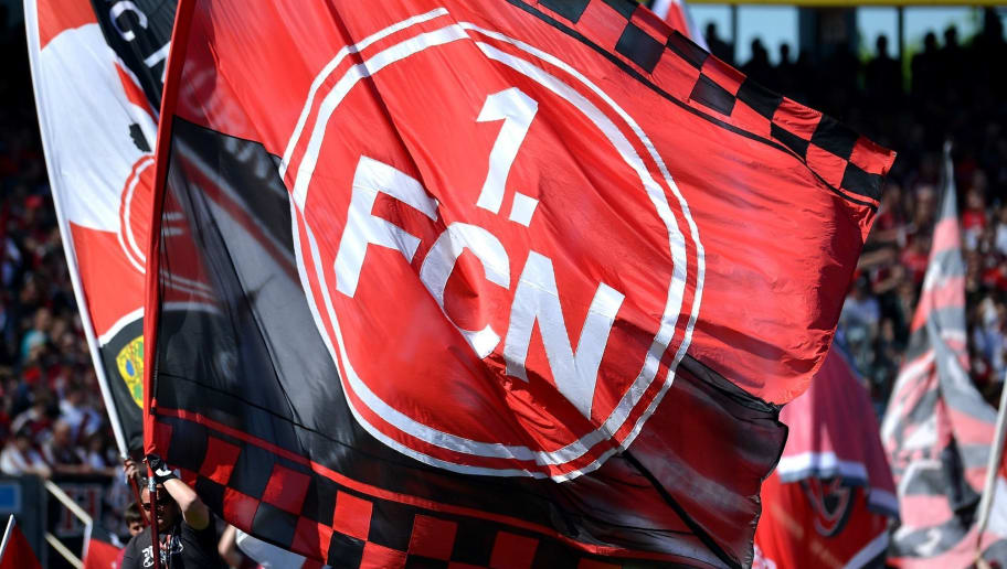 NUREMBERG, GERMANY - MAY 08:  1 FC Nuernberg flags are pictured prior to the Second Bundesliga match between 1. FC Nuernberg and FC St. Pauli at Grundig-Stadion on May 8, 2016 in Nuremberg, Germany.  (Photo by Micha Will/Bongarts/Getty Images)