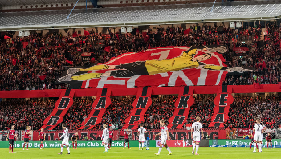 NUREMBERG, GERMANY - SEPTEMBER 11: Fans of Nuernberg make a choreography during the Second Bundesliga match between 1. FC Nuernberg and FC St. Pauli at Max-Morlock-Stadion on September 11, 2017 in Nuremberg, Germany. (Photo by Alexander Scheuber/Bongarts/Getty Images)
