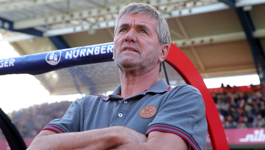 NUREMBERG, GERMANY - SEPTEMBER 29:  Friedhelm Funkel, head coch of Duesseldorf looks on  prior to the Bundesliga match between 1. FC Nuernberg and Fortuna Duesseldorf at Max-Morlock-Stadion on September 29, 2018 in Nuremberg, Germany.  (Photo by Alexander Hassenstein/Bongarts/Getty Images)