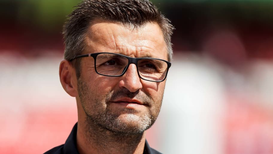 NUREMBERG, GERMANY - MAY 13: Head coach Michael Koellner of Nuernberg looks on prior to the Second Bundesliga match between 1. FC Nuernberg and Fortuna Duesseldorf at Max-Morlock-Stadion on May 13, 2018 in Nuremberg, Germany. (Photo by TF-Images/Getty Images)