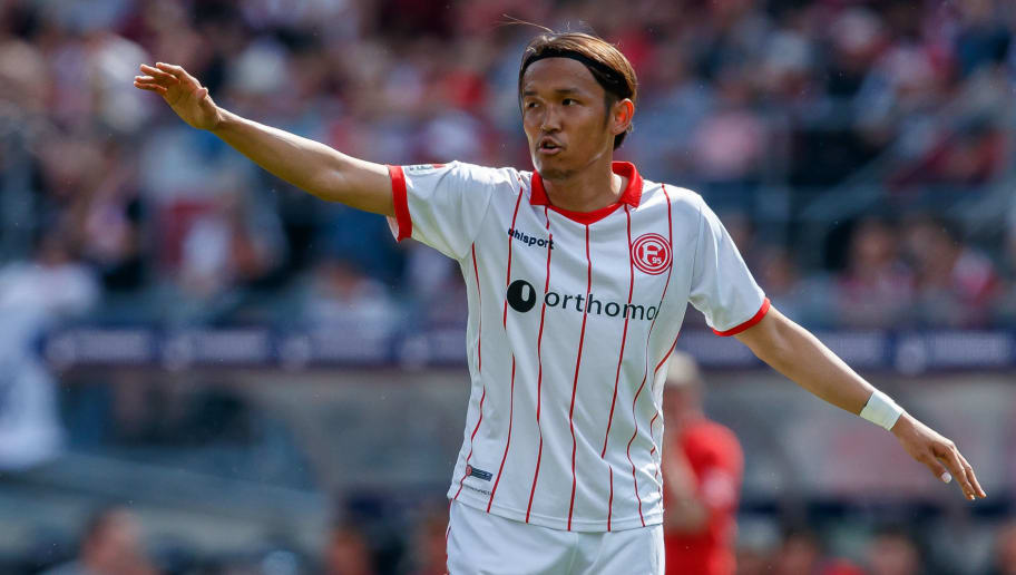 NUREMBERG, GERMANY - MAY 13: Takashi Usami of Duesseldorf gestures during the Second Bundesliga match between 1. FC Nuernberg and Fortuna Duesseldorf at Max-Morlock-Stadion on May 13, 2018 in Nuremberg, Germany. (Photo by TF-Images/Getty Images)