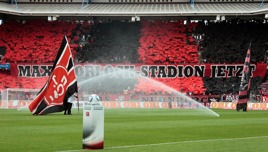 NUREMBERG, GERMANY - AUGUST 13:  General inside view of the Easy-Credit stadium, photo taken ahead of the Bundesliga match between  1. FC Nuernberg and Hannover 96 at Easy Credit Stadium on August 13, 2011 in Nuremberg, Germany.  (Photo by Johannes Simon/Bongarts/Getty Images)