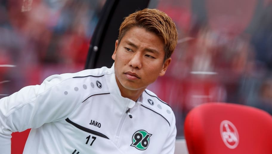 NUREMBERG, GERMANY - SEPTEMBER 22: Takuma Asano of Hannover looks on prior to the Bundesliga match between 1. FC Nuernberg and Hannover 96 at Max-Morlock-Stadion on September 22, 2018 in Nuremberg, Germany. (Photo by TF-Images/Getty Images)