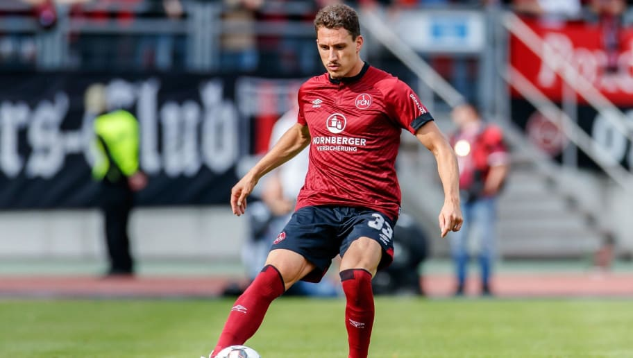 NUREMBERG, GERMANY - SEPTEMBER 22: Georg Margreitter of FC Nuernberg controls the ball during the Bundesliga match between 1. FC Nuernberg and Hannover 96 at Max-Morlock-Stadion on September 22, 2018 in Nuremberg, Germany. (Photo by TF-Images/Getty Images)