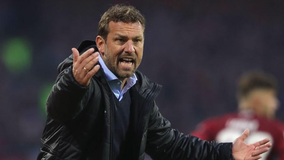 NUREMBERG, GERMANY - NOVEMBER 10:  Markus Weinzierl head coach of Stuttgart reacts during the Bundesliga match between 1. FC Nuernberg and VfB Stuttgart at Max-Morlock-Stadion on November 10, 2018 in Nuremberg, Germany.  (Photo by Alexander Hassenstein/Bongarts/Getty Images)