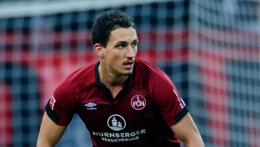 NUREMBERG, GERMANY - NOVEMBER 10: Georg Margreitter of 1. FC Nuernberg controls the ball during the Bundesliga match between 1. FC Nuernberg and VfB Stuttgart at Max-Morlock-Stadion on November 10, 2018 in Nuremberg, Germany. (Photo by TF-Images/Getty Images)