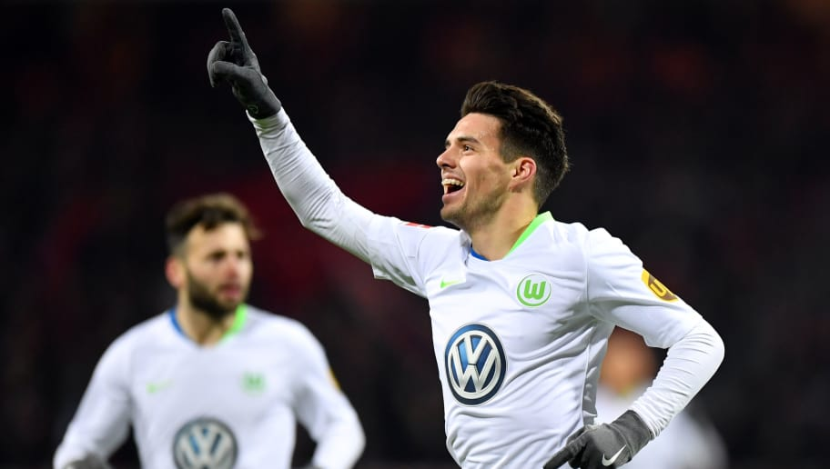 NUREMBERG, GERMANY - DECEMBER 14: Josip Brekalo of Wolfsburg celebrates his team's second goal during the Bundesliga match between 1. FC Nuernberg and VfL Wolfsburg at Max-Morlock-Stadion on December 14, 2018 in Nuremberg, Germany. (Photo by Sebastian Widmann/Bongarts/Getty Images)