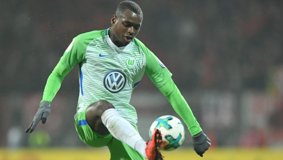 NUREMBERG, GERMANY - DECEMBER 19: Landry Dimata of Wolfsburg plays the ball during the DFB Cup match between 1. FC Nuernberg and VfL Wolfsburg at Max-Morlock-Stadion on December 19, 2017 in Nuremberg, Germany. (Photo by Sebastian Widmann/Bongarts/Getty Images)