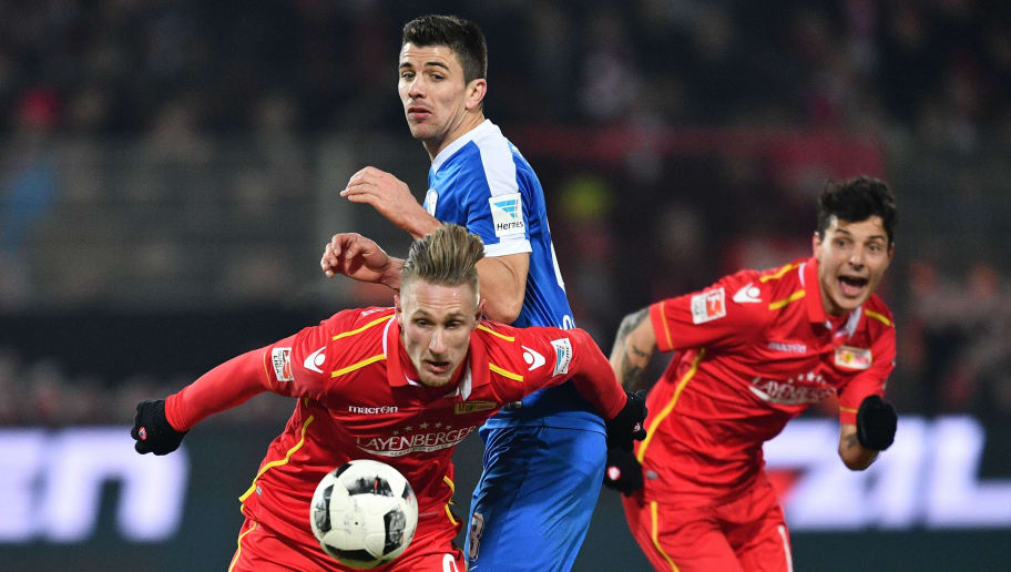BERLIN, GERMANY - JANUARY 27:  Sebastian Polter of Berlin is challenged by Anthony Losilla of Bochum during the Second Bundesliga match between 1. FC Union Berlin and VfL Bochum 1848 at Stadion An der Alten Foersterei on January 27, 2017 in Berlin, Germany.  (Photo by Stuart Franklin/Bongarts/Getty Images)