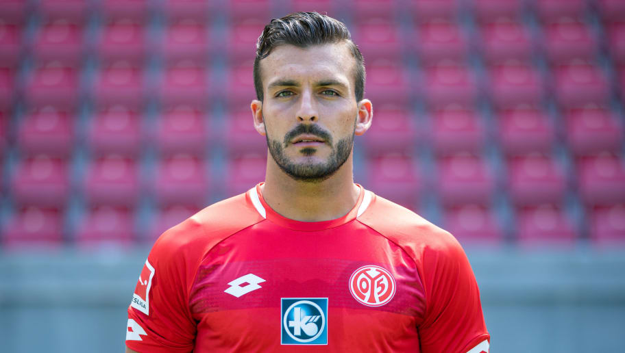 MAINZ, GERMANY - JULY 24: Giulio Donati of 1. FSV Mainz 05 pose during the team presentation at Opel Arena on July 24, 2018 in Mainz, Germany. (Photo by Simon Hofmann/Bongarts/Getty Images)