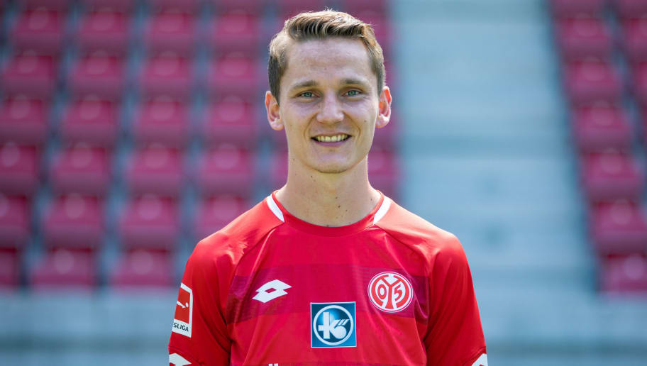 MAINZ, GERMANY - JULY 24: Niko Bungert of 1. FSV Mainz 05 pose during the team presentation at Opel Arena on July 24, 2018 in Mainz, Germany. (Photo by Simon Hofmann/Bongarts/Getty Images)