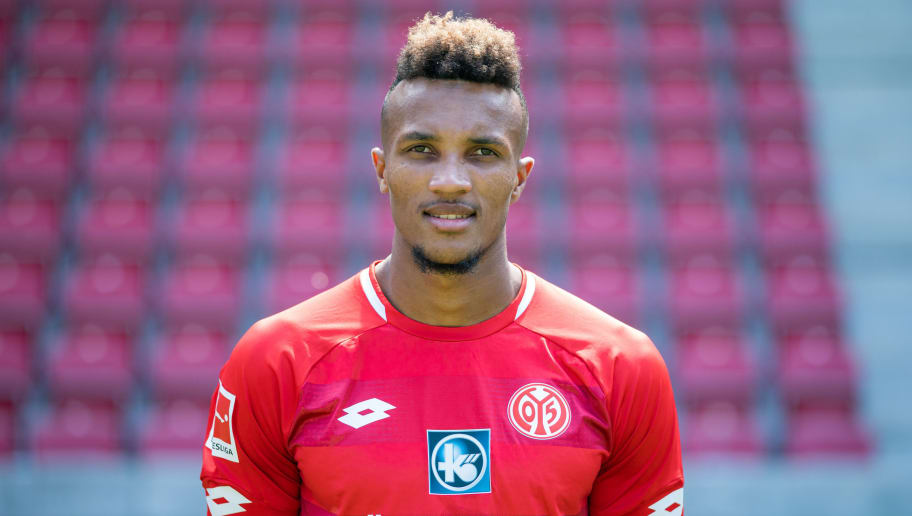 MAINZ, GERMANY - JULY 24: Jean-Philippe Gbamin of 1. FSV Mainz 05 pose during the team presentation at Opel Arena on July 24, 2018 in Mainz, Germany. (Photo by Simon Hofmann/Bongarts/Getty Images)
