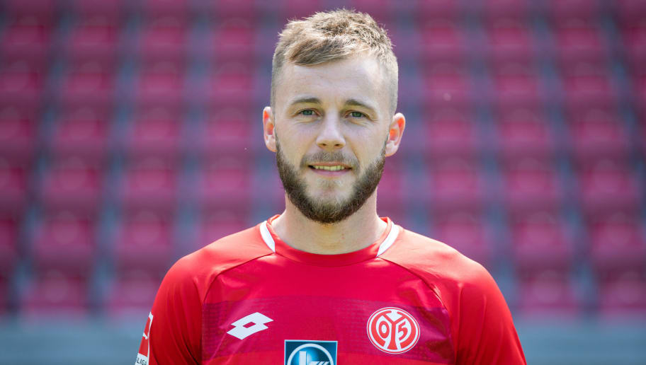 MAINZ, GERMANY - JULY 24: Alexandru Maxim of 1. FSV Mainz 05 pose during the team presentation at Opel Arena on July 24, 2018 in Mainz, Germany. (Photo by Simon Hofmann/Bongarts/Getty Images)