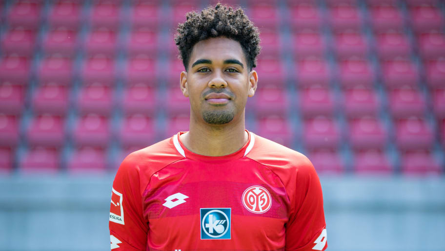 MAINZ, GERMANY - JULY 24: Philipp Mwene of 1. FSV Mainz 05 pose during the team presentation at Opel Arena on July 24, 2018 in Mainz, Germany. (Photo by Simon Hofmann/Bongarts/Getty Images)