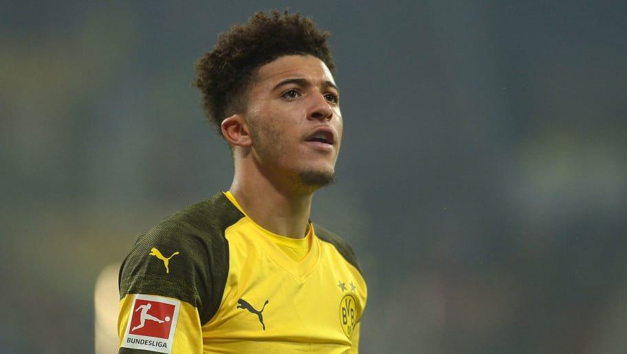 MAINZ, GERMANY - NOVEMBER 24: Jadon Sancho of Borussia Dortmund looks on during the Bundesliga match between 1. FSV Mainz 05 and Borussia Dortmund at Opel Arena on November 24, 2018 in Mainz, Germany. (Photo by TF-Images/Getty Images)