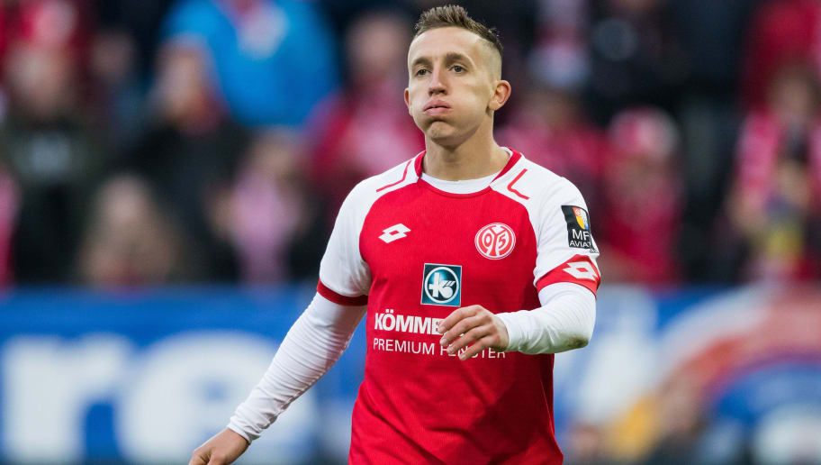 MAINZ, GERMANY - APRIL 01: Pablo De Blasis of Mainz reacts during the Bundesliga match between 1. FSV Mainz 05 and Borussia Moenchengladbach at Opel Arena on April 1, 2018 in Mainz, Germany. (Photo by Simon Hofmann/Bongarts/Getty Images)