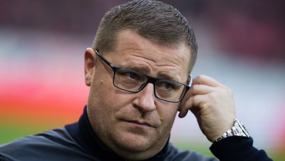 MAINZ, GERMANY - APRIL 01: Max Eberl of Moenchengladbach looks on during the Bundesliga match between 1. FSV Mainz 05 and Borussia Moenchengladbach at Opel Arena on April 1, 2018 in Mainz, Germany. (Photo by Simon Hofmann/Bongarts/Getty Images)