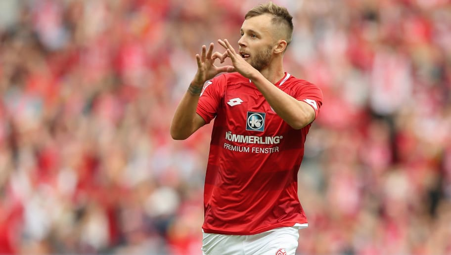MAINZ, GERMANY - SEPTEMBER 15: Alexandru Maxim of Mainz celebrates the second goal for Mainz during the Bundesliga match between 1. FSV Mainz 05 and FC Augsburg at Opel Arena on September 15, 2018 in Mainz, Germany. (Photo by Christian Kaspar-Bartke/Bongarts/Getty Images)