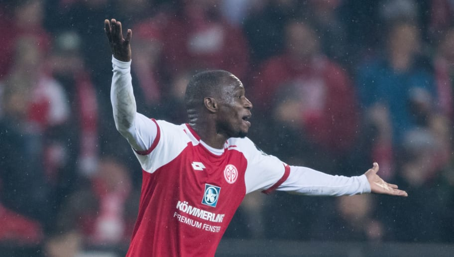 MAINZ, GERMANY - MARCH 09: Anthony Ujah of Mainz reacts during the Bundesliga match between 1. FSV Mainz 05 and FC Schalke 04 at Opel Arena on March 9, 2018 in Mainz, Germany. (Photo by Simon Hofmann/Getty Images)