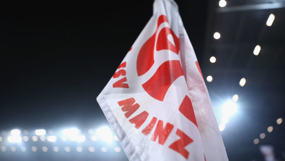 MAINZ, GERMANY - MARCH 09: The corner flag is seen prior to the Bundesliga match between 1. FSV Mainz 05 and FC Schalke 04 at Opel Arena on March 9, 2018 in Mainz, Germany.  (Photo by Alex Grimm/Bongarts/Getty Images)
