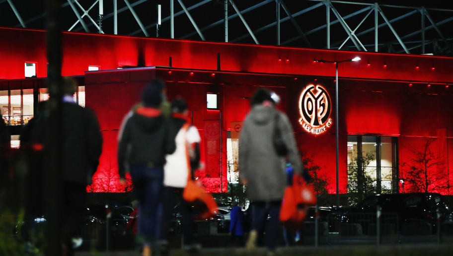 MAINZ, GERMANY - OCTOBER 24:  Fans arrive at the stadium prior to the DFB Cup match between 1. FSV Mainz 05 and Holstein Kiel at Opel Arena on October 24, 2017 in Mainz, Germany.  (Photo by Alex Grimm/Bongarts/Getty Images)